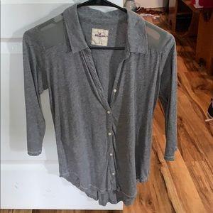Hollister 3/4 arm length button down shirt